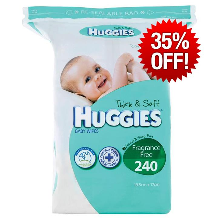 Huggies Baby Wipes Refill Fragrance Free X 240