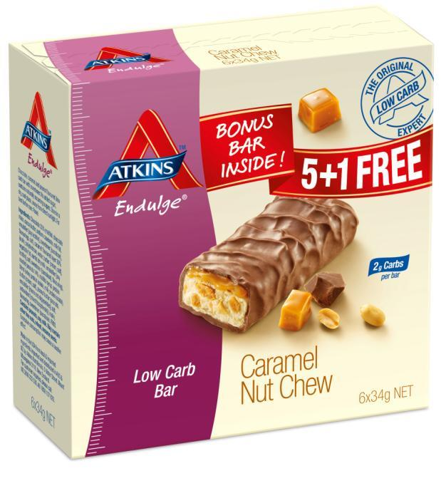 Atkins Endulge Caramel Nut Chew Bars 34g X 6