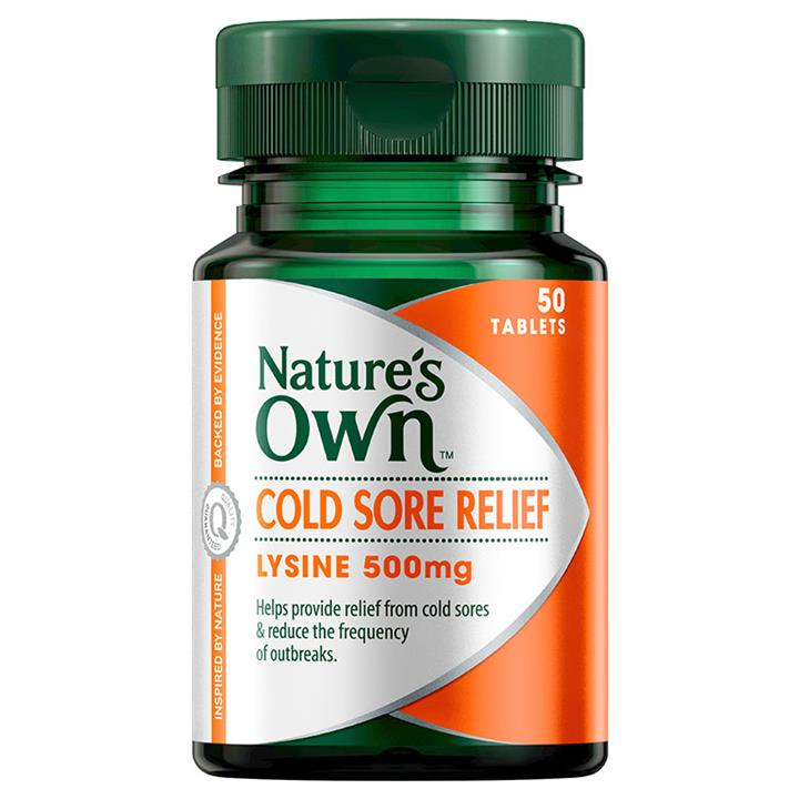 Nature's Own Cold Sore Relief L-Lysine 500mg Tab X 50