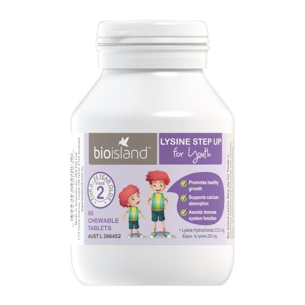 Bio Island Lysine Step Up for Youth Stage 2 Chewable Tab X 90