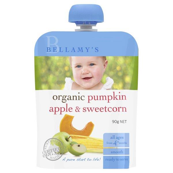 Bellamy's Organic Pumpkin Apple & Sweetcorn Baby Food 90g (Best Before 27/10/16)