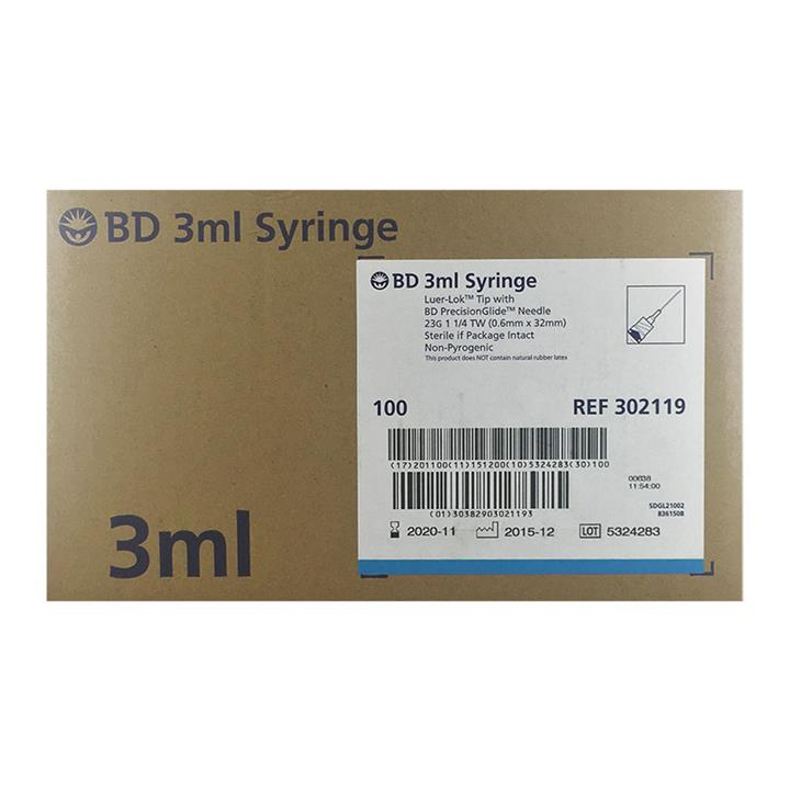 BD 3ml Syringe Luer-Lok Tip with PrecisionGlide Needle 23G (0.6mm X 32mm) X 100