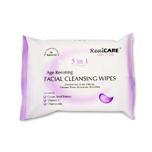 Real Care Age Resisting Facial Cleansing Wipes 5 in 1 25pk