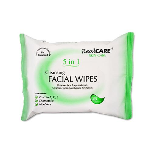 Real Care Cleansing Facial Wipes 5 in 1 25pk
