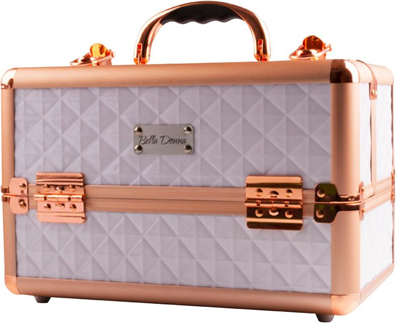 Bella Donna Voyager Makeup Case White with Rose Gold Trim 300 x 185 x