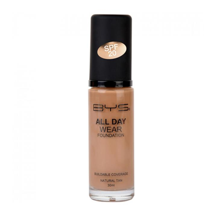 BYS All Day Wear Foundation SPF20 Natural Tan 30ml