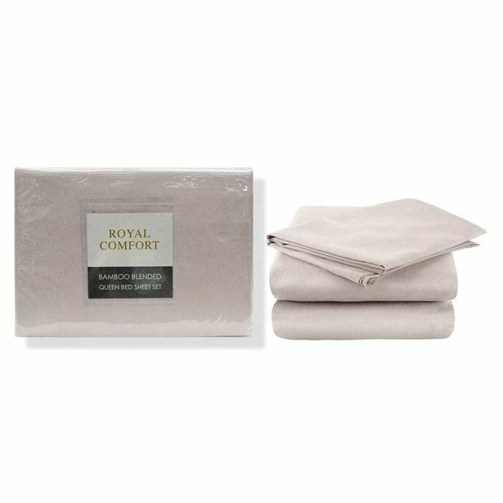 Royal Comfort Bamboo Blended Sheet Set Queen Warm Grey