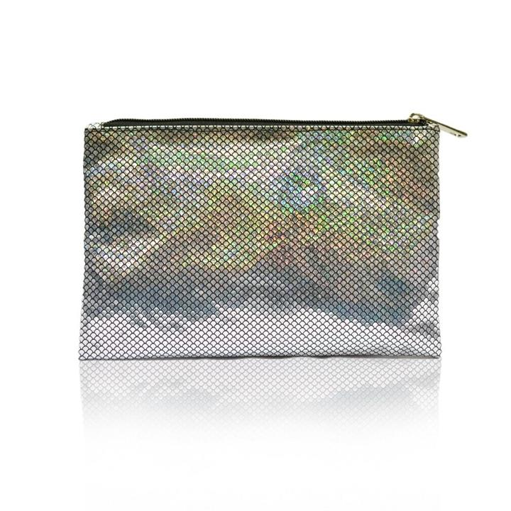 Sweetly Scalloped Holographic Pouch Black