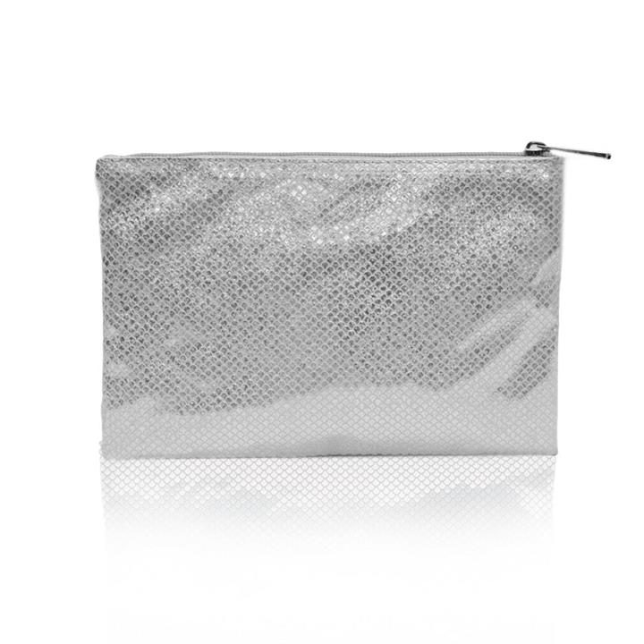Sweetly Scalloped Holographic Pouch Grey