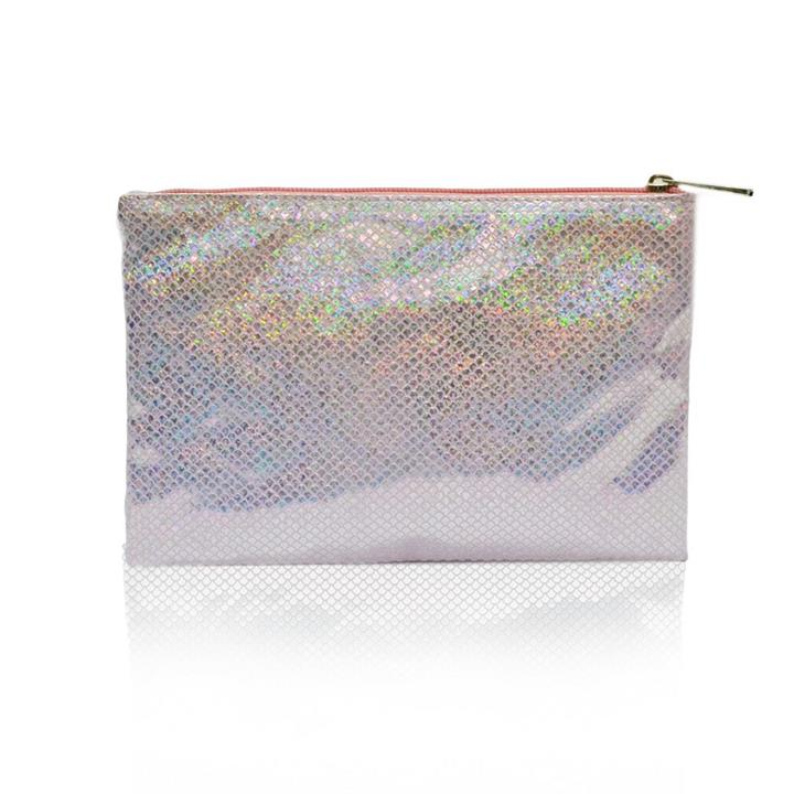 Sweetly Scalloped Holographic Pouch Baby Pink