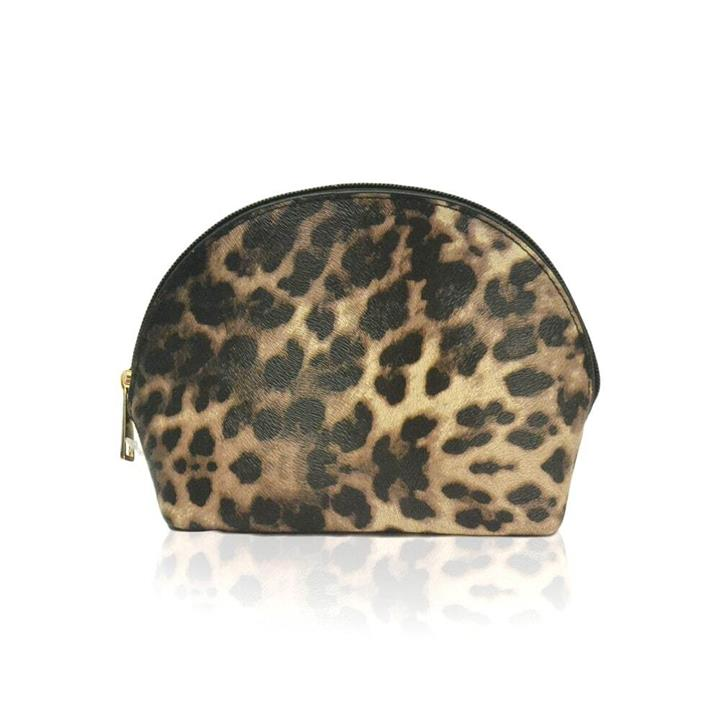 Cosmetic Bag Shell Shape Brown Leopard