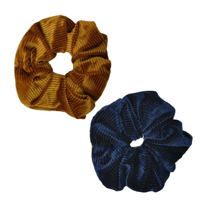 My Accessory Gold And Blue Velvet Scrunchies 2pk