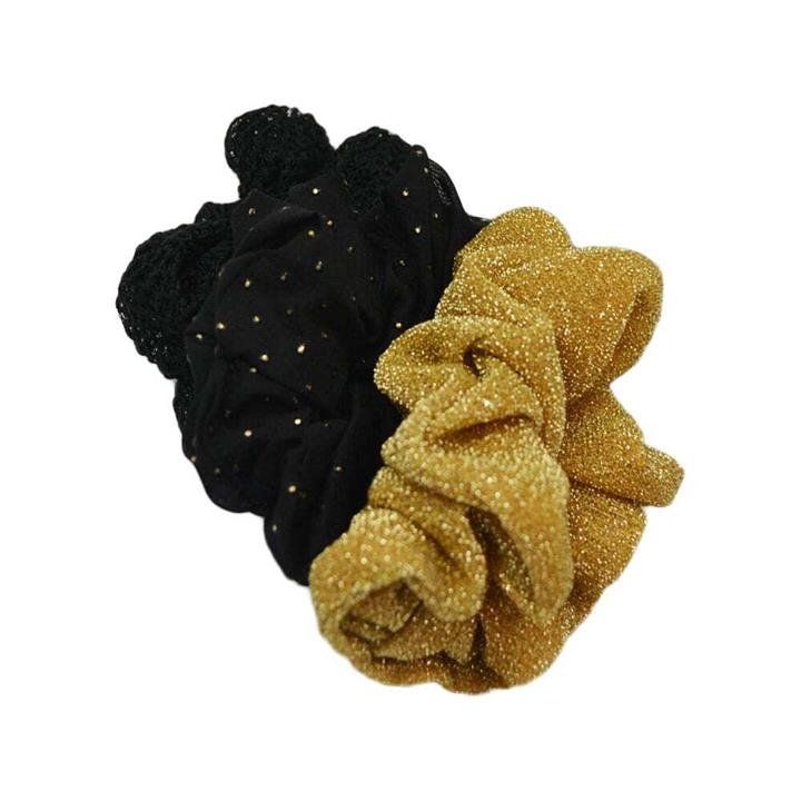 My Accessory Black And Gold Assorted Scrunchies 3pk