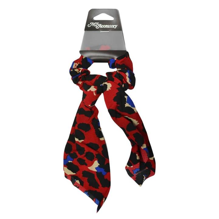My Accessory Red And Blue Leopard Print Chiffon Scrunchie With Tail