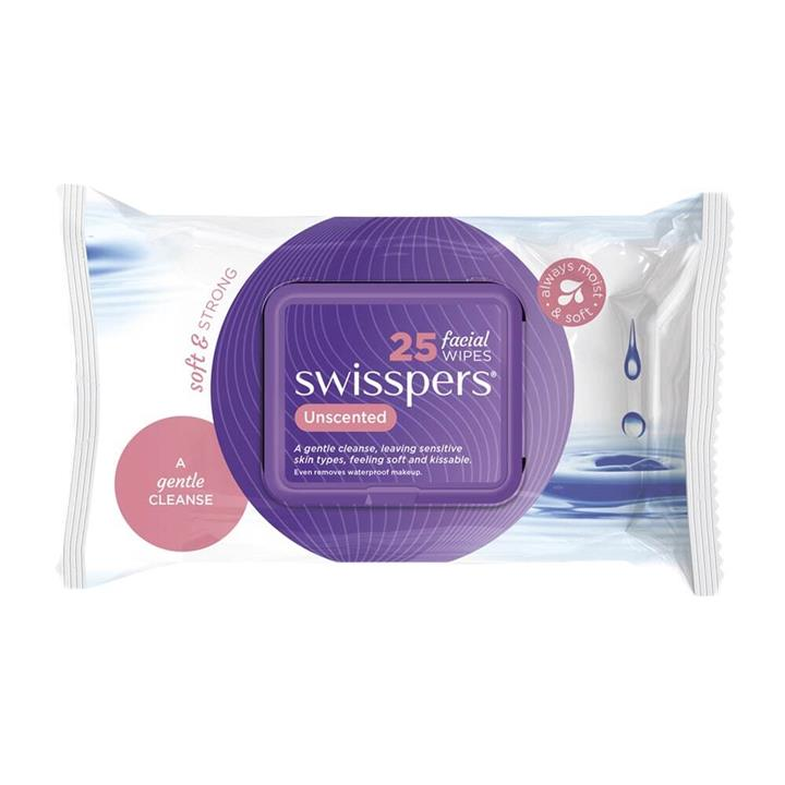 Swisspers Facial Cleansing Wipes Unscented 25pk