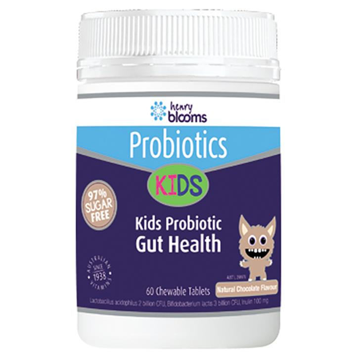 Henry Blooms Kids Probiotic Gut Health Chocolate Flavour Chewable Tab x 60
