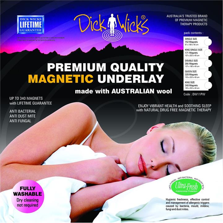 Dick Wicks Premium Wool Magnetic Naked Underlay King