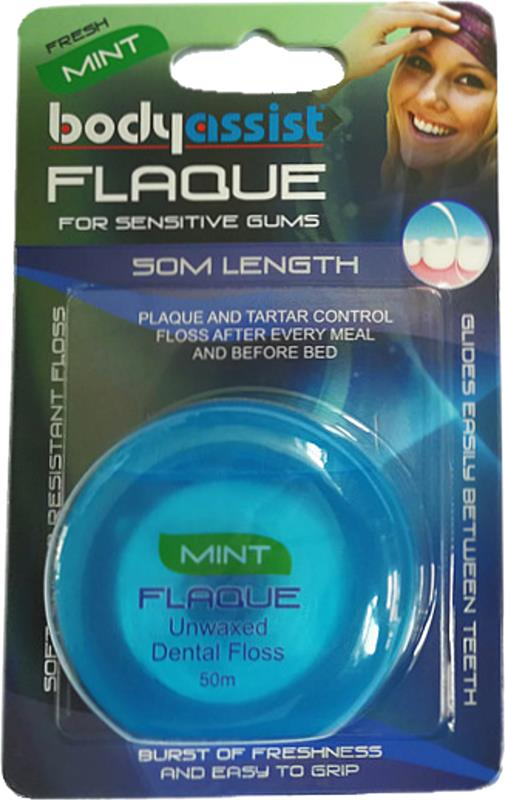 BodyAssist  Flaque Unwaxed Dental Floss Mint 50m
