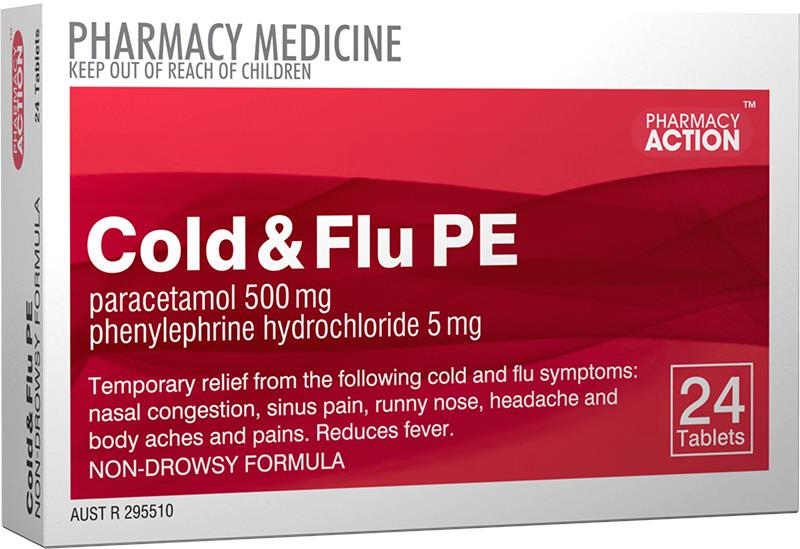 Pharmacy Action Cold & Flu PE Tab X 24 (Generic for Codral PE Cold & Flu)