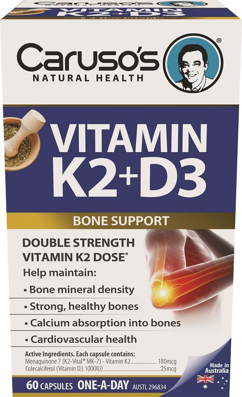 Caruso's Natural Health Vitamin K2 + D3 One A Day Cap X 60