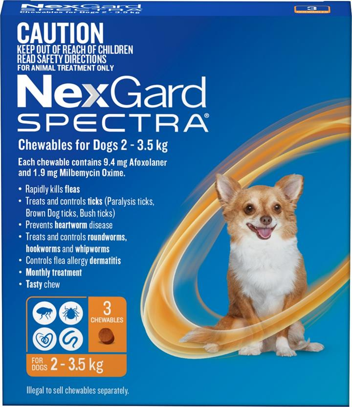 NexGard Spectra Chewables For Extra Small Dogs (2 to 3.5kg) X 3
