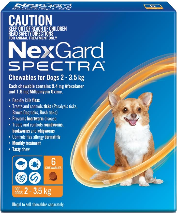 NexGard Spectra Chewables For Extra Small Dogs (2 to 3.5kg) X 6