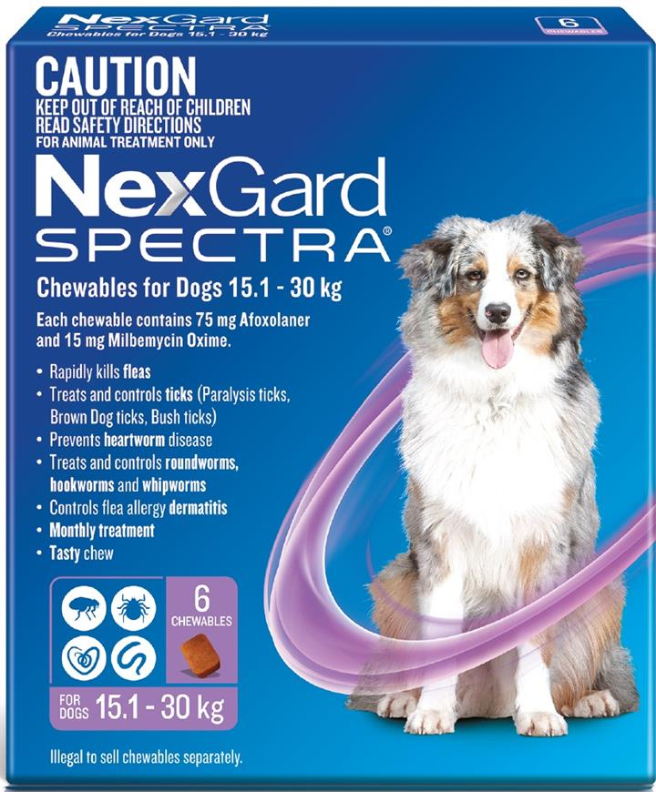 NexGard Spectra Chewables For Large Dogs (15.1 to 30kg) X 6