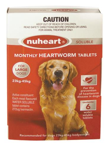 Nuheart Heartworm Soluble Tab For Large Dogs (23 to 45kg) X 6
