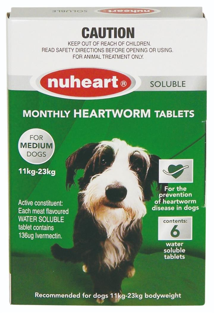 Nuheart Heartworm Soluble Tab For Medium Dogs (11 to 23kg) X 6