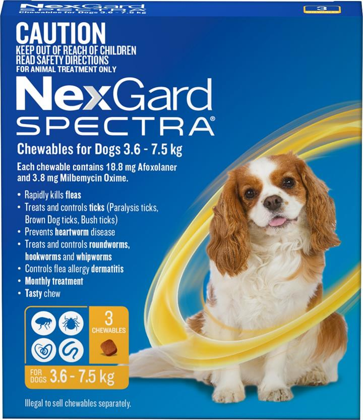 NexGard Spectra Chewables For Small Dogs (3.6 to 7.5kg) X 3