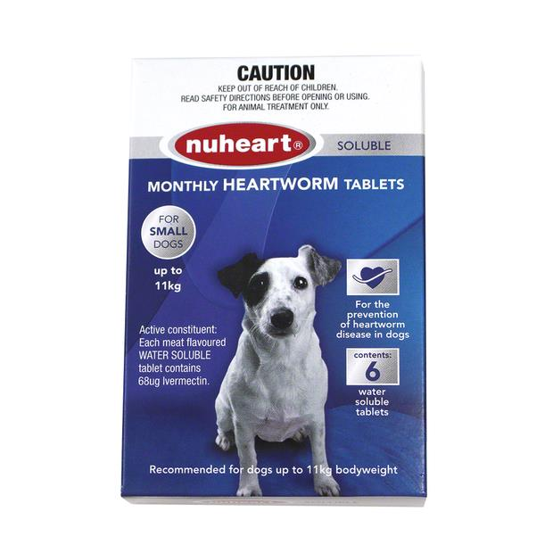 Nuheart Heartworm Soluble Tab For Small Dogs (Up to 11kg) X 6