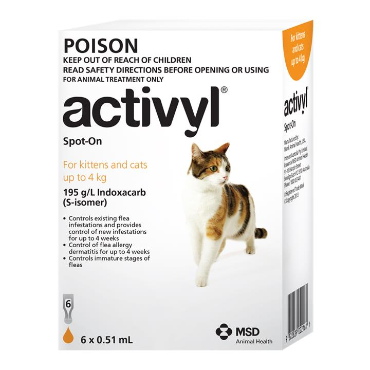 Activyl Spot-On For Kittens & Cats (Up to 4kg) 0.51ml X 6