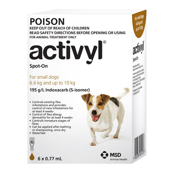 Activyl Spot-On For Small Dogs (6.6 to 10kg) 0.77ml X 6