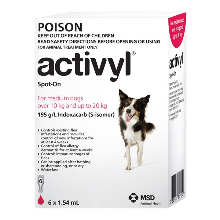 Activyl Spot-On For Medium Dogs (10 to 20kg) 1.54ml X 6