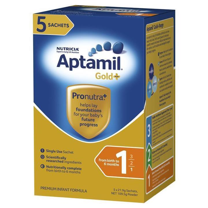 Aptamil Gold Plus 1 Infant Formula (0-6 Months) Sachets 21.9g X 5