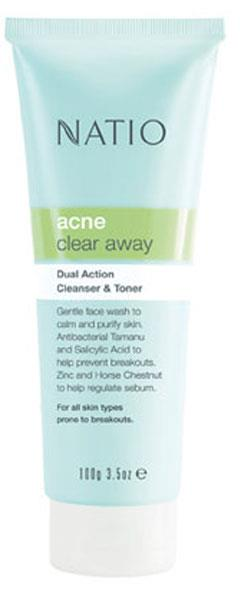 Natio Acne Clear Away Dual Action Cleanser and Toner 100g
