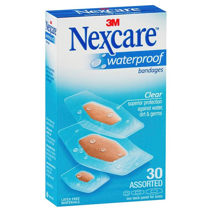 Nexcare 3M Waterproof Strips Assorted Sizes X 30