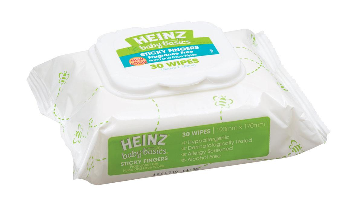 Heinz Baby Basics Sticky Fingers Fragrance Free Wipes X 30