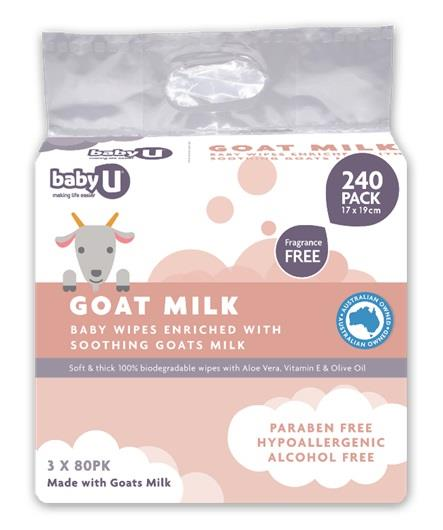 Baby U Goat Milk Baby Wipes X 240