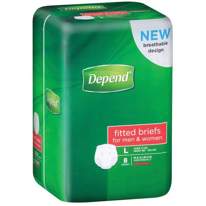 Depend Fitted Briefs Large X 8