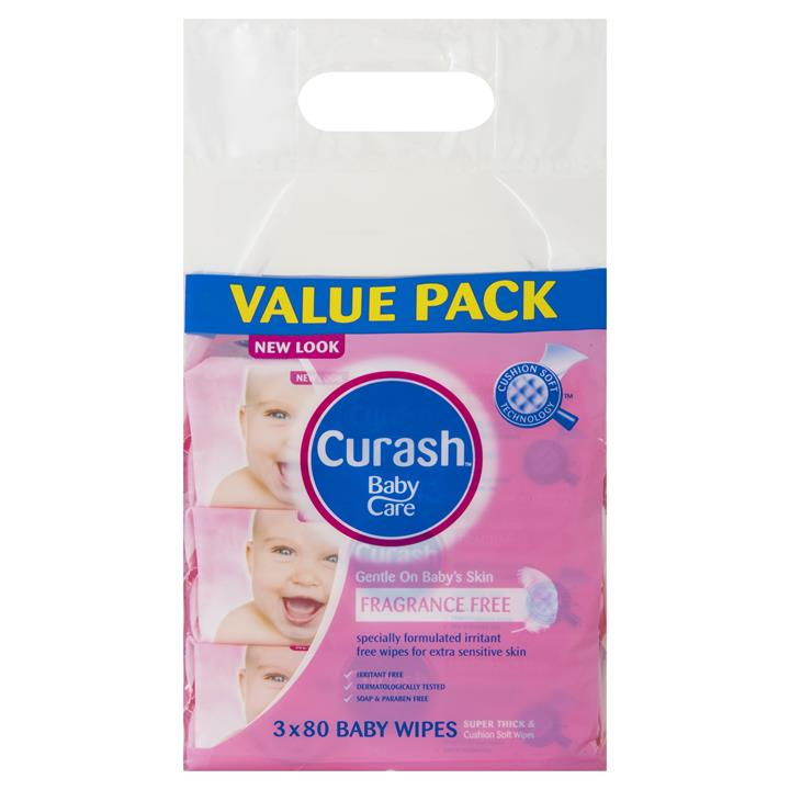 Curash Baby Wipes Fragrance Free X 80 X 3