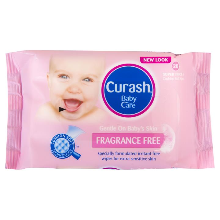 Curash Baby Wipes Fragrance Free X 20