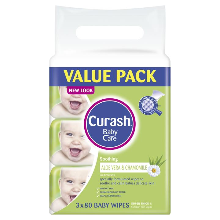 Curash Baby Wipes Soothing X 80 X 3