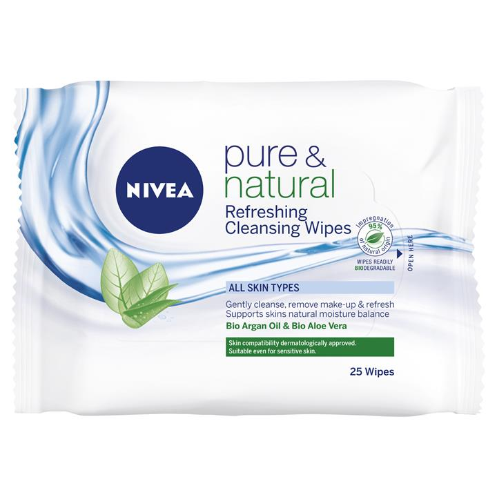 Nivea Visage Pure & Natural Facial Cleansing Wipe X 25