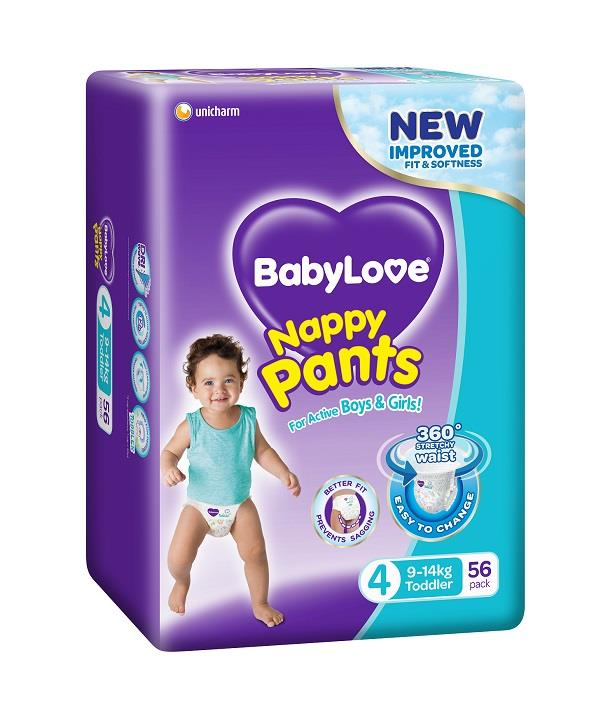 BabyLove Nappy Pants Toddler (9-14kg) X 56 (Limit 2 boxes per order)