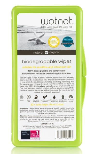 wotnot Biodegradable Travel Wipes (with Travel Case) X 20