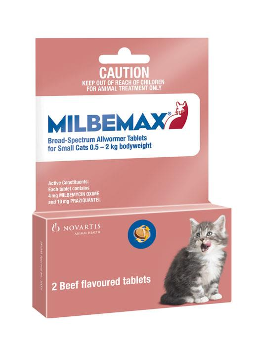 Milbemax Allwormer Small Cats and Kitten 0.5-2kg Tab X 2