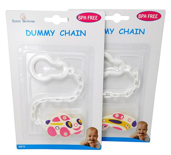 Sister Browne Dummy Soother Chain with Clip (Assorted Designs/Colours) X 1