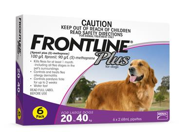 Frontline Plus For Large Dogs (20-40kg) – 6 Pack