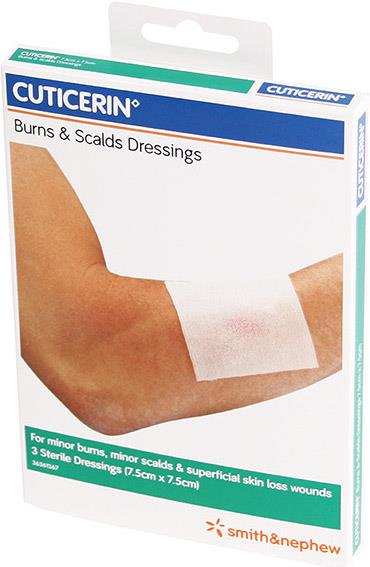 Cuticerin Burns and Scales Dressings 7.5cm x 7.5cm X 3